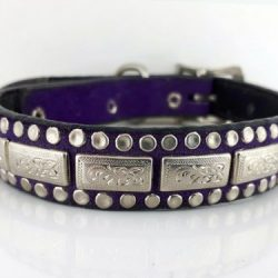 Dog Collar K9 Square in Italian leather and purple suede