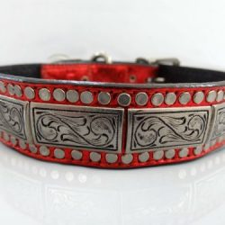 Dog Collar K9 Square in red metallic Italian leather