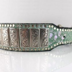 Dog collar K9 Upright in Italian leather and aquamarine suede