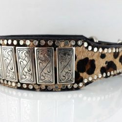 Dog collar K9 Upright in Italian leather and baby leopard cow hair from Brazil