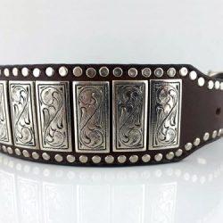 Dog collar K9 Upright in brown Italian leather