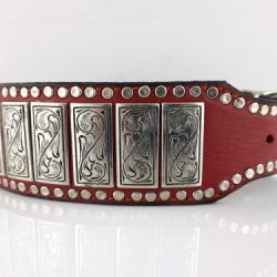 Dog collar K9 Upright in red Italian leather