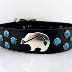 Dog collar Mideval Bears & Turquoise in black Italian leather with turquoise and silver plated bears