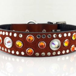 Dog collar Mideval in Italian leather and rust suede with fire opal and AB Swarovski crystals