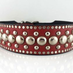Dog collar The Monster in red Italian leather with studs