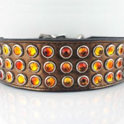 Dog collar Mucho in bronze metallic Italian leather with fire opal Swarovski crystals