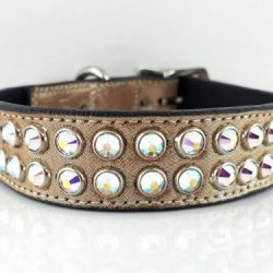 Dog collar Mucho in Italian leather and champagne metallic suede with AB Swarovski crystals