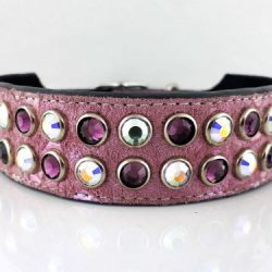 Dog collar Mucho in Italian leather and pearl pink suede with amethyst and AB Swarovski crystals