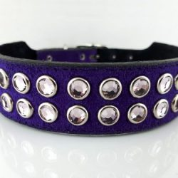 Dog collar Mucho in Italian leather and purple suede with light amethyst Swarovski crystals