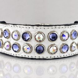 Dog collar Mucho in white Italian crocko leather with velvet and AB Swarovski crystals