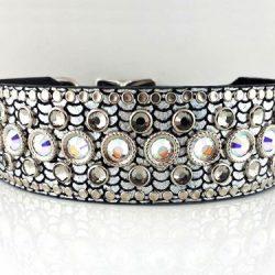 Dog collar Princess Crystal in shiny Italian leather with black diamond & AB Swarovski crystals