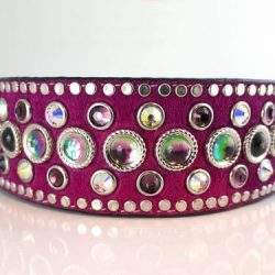 Dog Collar Princess Moonstone in Italian leather and hot pink suede with amethyst & AB Swarovski crystals