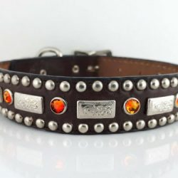 Dog Collar Square Crystal in brown Italian leather with fire opal Swarovski crystals