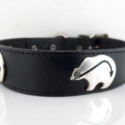 Dog collar Ten Bears in black Italian leather with silver bears