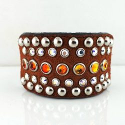 Dog collar Tiny Diva in Italian leather and rust suede with fire opal and AB Swarovski crystals
