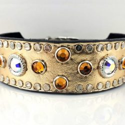 Dog collar Mideval in gold metallic Italian leather with AB and topaz Swarovski crystals