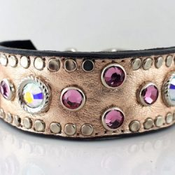 Dog collar Mideval in pink metallic Italian leather with rose and AB Swarovski crystals