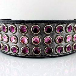 Dog collar Mucho in pewter metallic Italian leather with amethyst and light amethyst Swarovski crystals