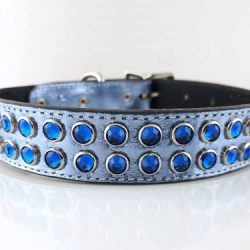 Dog collar Mucho in blue metallic Italian leather with Bermuda blue Swarovski crystals