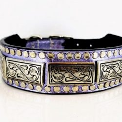 Dog collar K9 Square in lavender metallic Italian leather