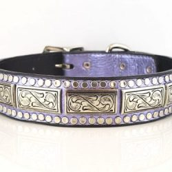Dog Collar K9 Square in lilac metallic Italian leather