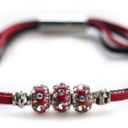 Kangaroo leather bracelet in red & silver