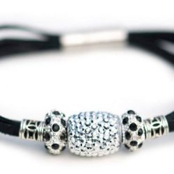 Kangaroo leather bracelet in black