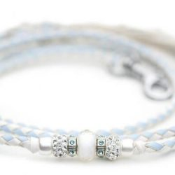 Kangaroo leather show lead in baby blue & white 1