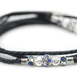 Kangaroo leather show lead in black 1