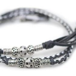 Kangaroo leather show lead in grey & silver