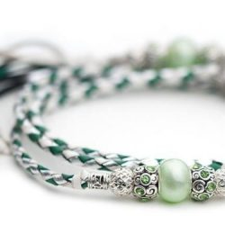 Kangaroo leather show lead in jade, white & silver 1