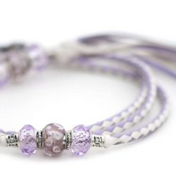 Kangaroo leather show lead in lavender & white 1