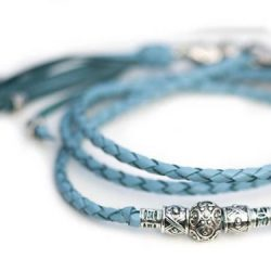 Kangaroo leather show lead in sky blue