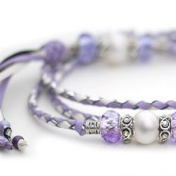 Kangaroo leather show lead in white, lavender & silver 1