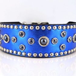 Dog collar Mideval Pearl in blue metallic Italian leather with black pearls