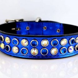 Dog collar Mucho in royal blue metallic Italian leather with Bermuda Blue & AB Swarovski crystals
