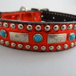 Dog collar Square Turquoise red metallic with a southwestern flare