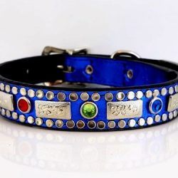Dog collar Square Crystal in royal blue metallic Italian leather with siam, peridot & Bermuda blue Swarovski crystals