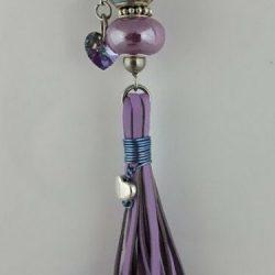 Handmade tassel in lavender kangaroo leather with light blue Pandora style, Swarovski crystals and stainless steel