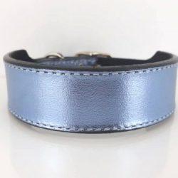 Dog collar Tiny Micro Diva in blue metallic Italian leather