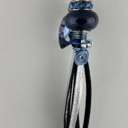 Handmade tassel in silver kangaroo leather dark blue Pandora style, Swarovski crystals and stainless steel
